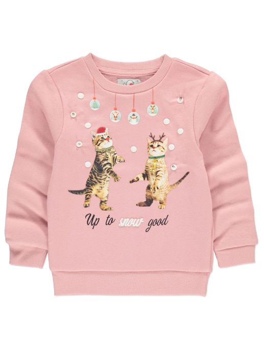 Light Up Cat Slogan Christmas Sweatshirt Kids George