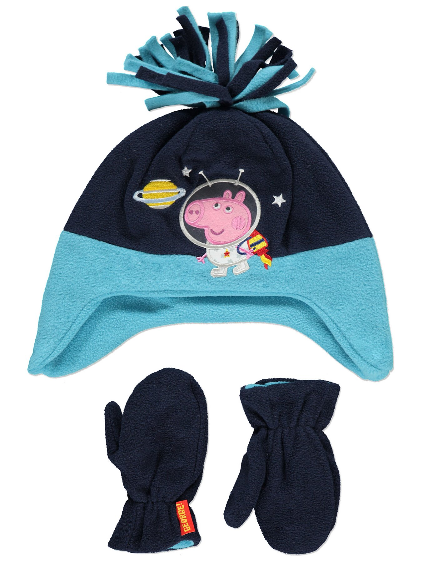 e4e799c511c21 Peppa Pig George Pig Fleece Trapper Hat and Mittens. Reset