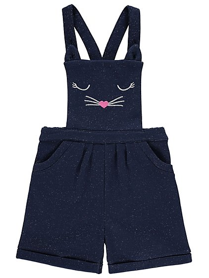 Sparkling Cat Face Dungarees And Long Sleeve Top