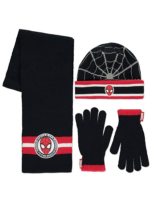 005e5a59 Marvel Spider-Man 3 Piece Hat, Scarf and Gloves Set | Kids | George