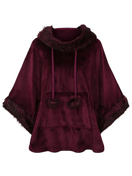 Hooded Fleece Poncho Dressing Gown | Women | George