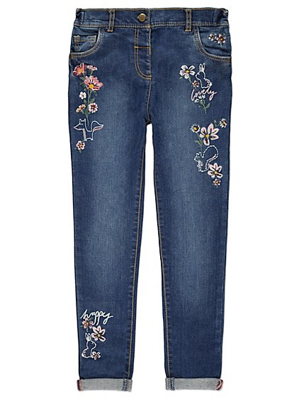 Floral embroidered jeans kids george