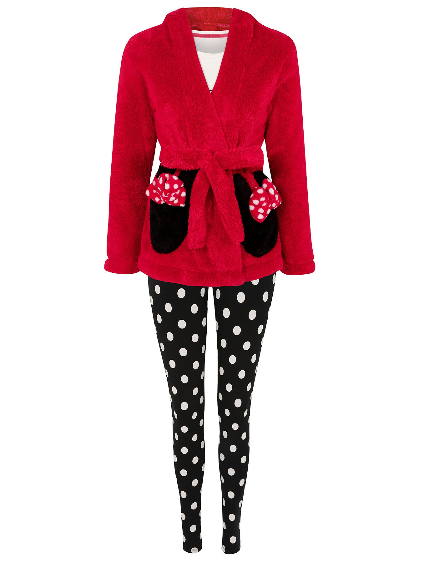 Disney Minnie Mouse 3 Piece Dressing Gown and Pyjama Set   Women ...