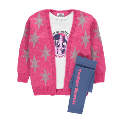 George My Little Pony Unicorn Cardigan, Top and Leggings Set - Pink, Pink.
