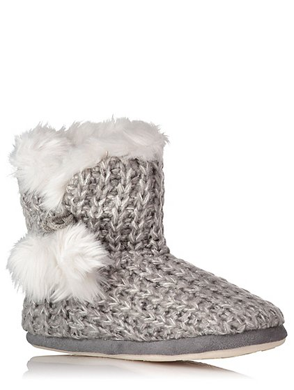 Knitted Slipper Boots Women George