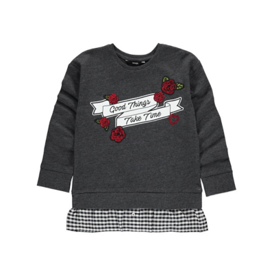 George Mock Layer Sweatshirt and Shirt - Charcoal, Charcoal.