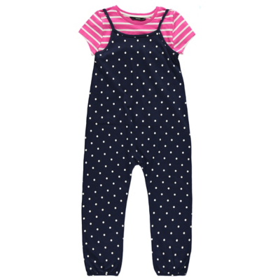 George Striped T-Shirt and Polka-Dot Jumpsuit Set - Navy, Navy.