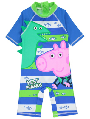 Blue Peppa Pig George Pig Striped Sun Protection UV40+ Swimsuit | Kids | George  sc 1 st  George - Asda & Blue Peppa Pig George Pig Striped Sun Protection UV40+ Swimsuit ...