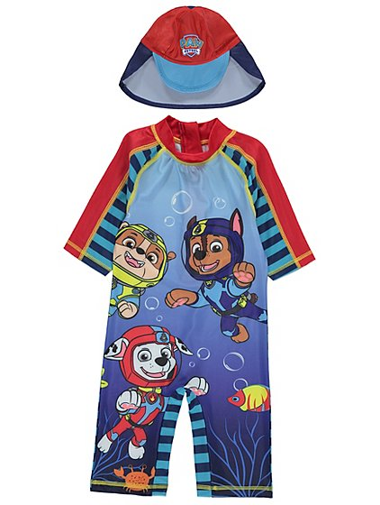Paw Patrol Sun Protection Uv40 Swimsuit And Hat Set