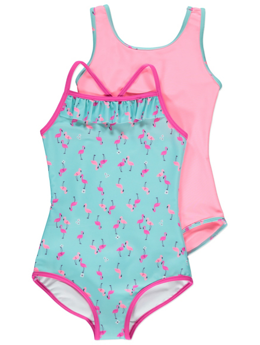Flamingo Swimsuits 2 Pack Kids George