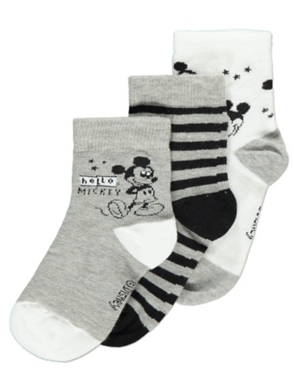 3 Pack Disney Mickey Mouse Ankle Socks Baby George