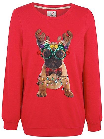 rudolph french bulldog christmas sweatshirt women george