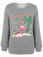 Light Up Flamingo Christmas Sweatshirt   Women