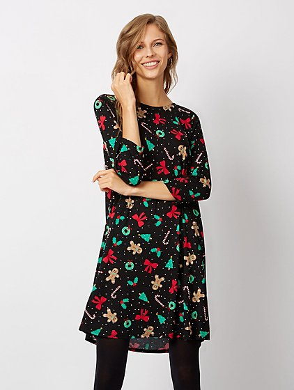 christmas print swing dress women george