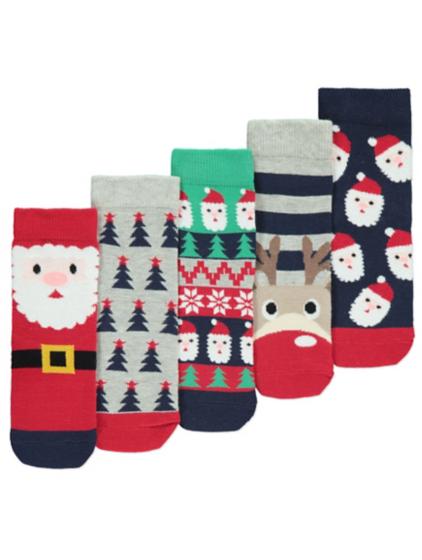 5 Pack Christmas Socks | Kids