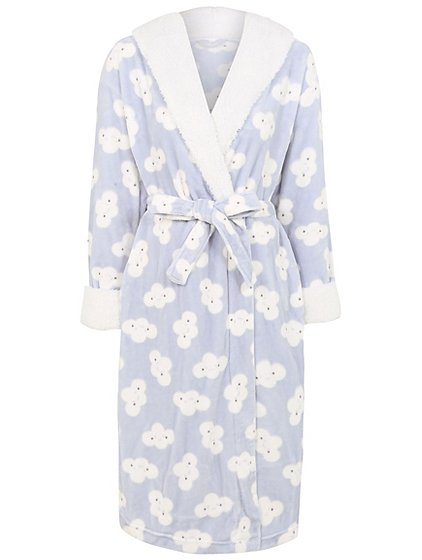 Cloud Print Supersoft Dressing Gown   Women   George
