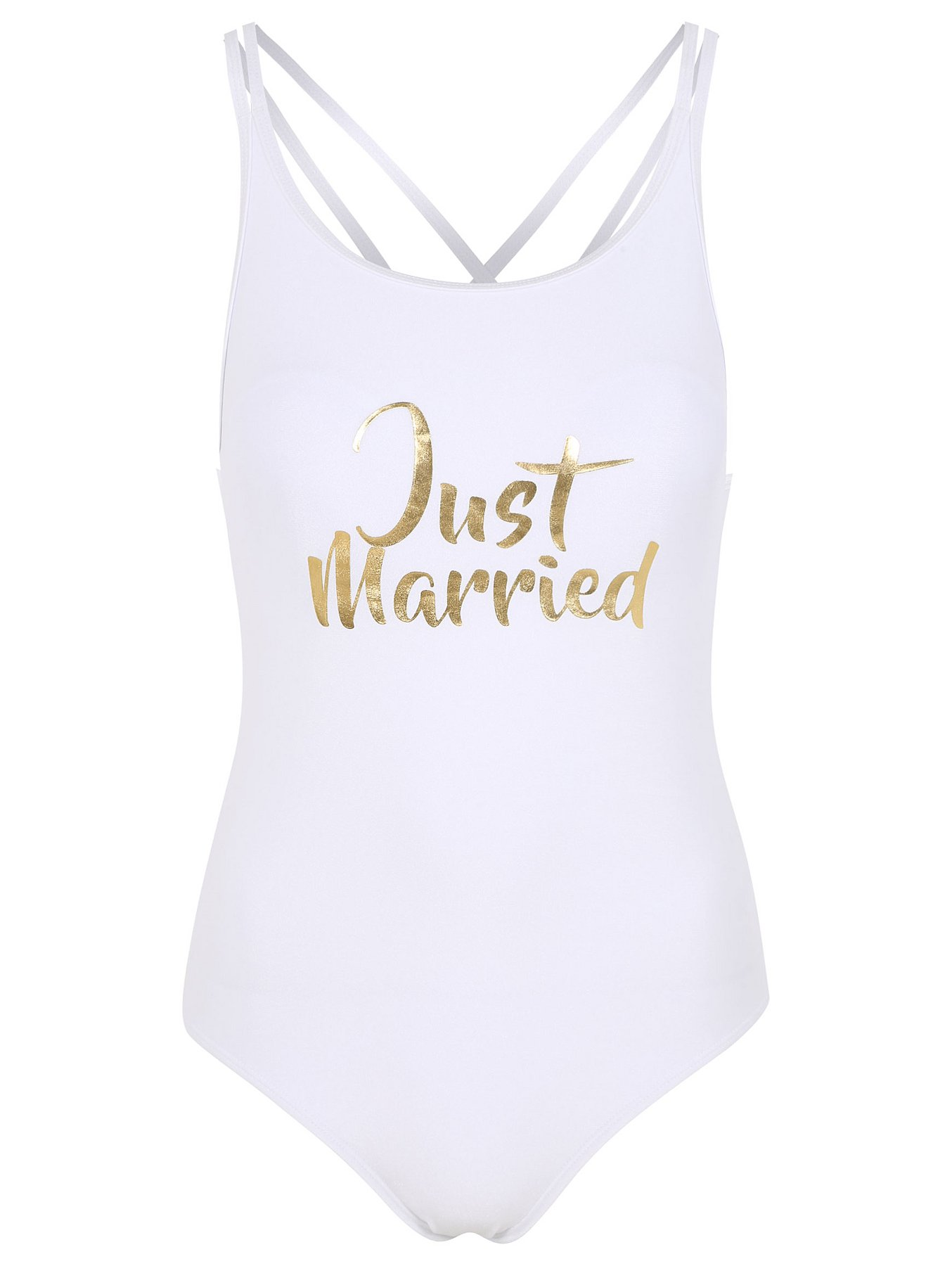 605a9ceffb Just Married Slogan Swimsuit. Reset