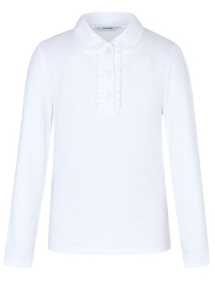 Girls White Long Sleeve Ruffle Front School Polo Shirt