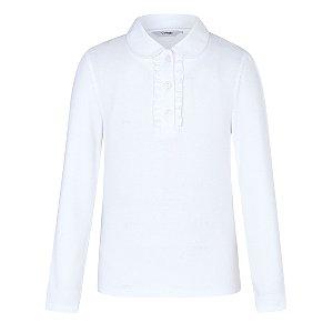 Girls White Long Sleeve Ruffle Front School Polo Shirt