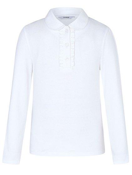 Girls White School Long Sleeve Ruffle Front Polo Shirt