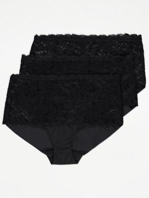 Black Lace Top No VPL Midi Briefs 3 Pack