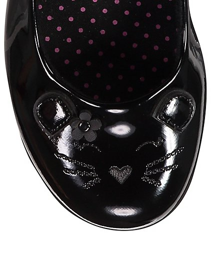 Girls School Micro Fresh Cat Detail Patent Shoes Black Kids George