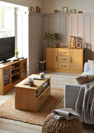 Addison Living Room Furniture Range - Oak Effect