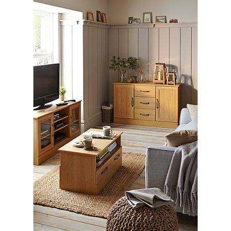 Addison living room furniture range oak effect living for Living room designs with oak furniture
