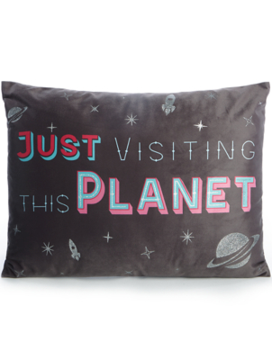 Black Just Visiting This Planet Slogan Cushion