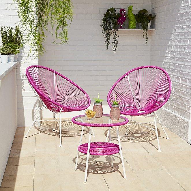 Camden Pink 3 Piece Garden Bistro Set