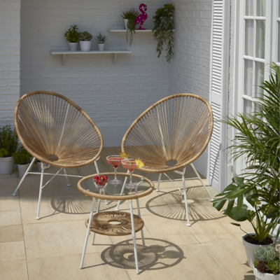 Camden Natural 3 Piece Garden Bistro Set  sc 1 st  George - Asda & Garden Patio u0026 Conservatory Furniture | Outdoor u0026 Garden | George ...