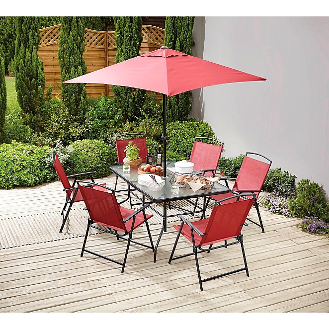 Miami Red 8 Piece Patio Set Outdoor, Red Patio Table And Chairs