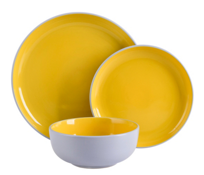 Details About Grey Yellow 12 Piece Dining Dinner Set Kitchen Stoneware  Tableware Plates Bowls