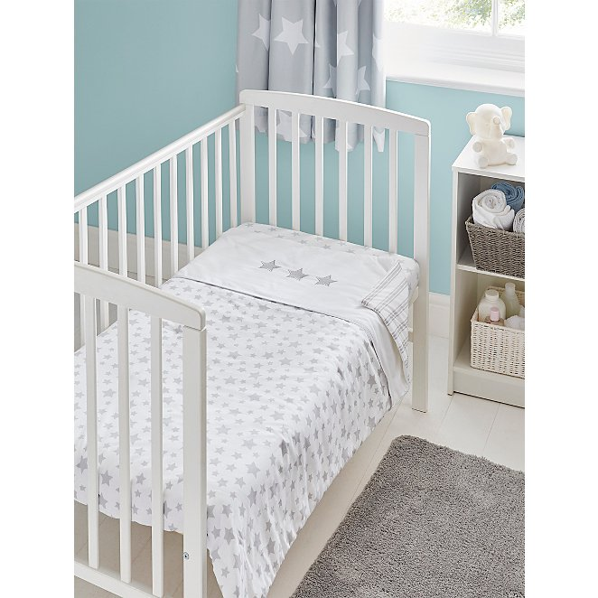 Cot Reversible Bed Quilt Baby, Cot Bedding Grey And White Stars