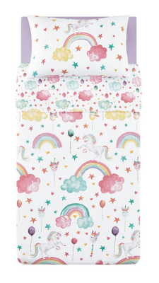 Unicorn and Rainbow Print Easy Care Reversible Duvet Set - Single