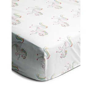 White Unicorn Print Easy Care Fitted Sheet
