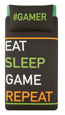 Gamer Slogan Easy Care Duvet Set - Single