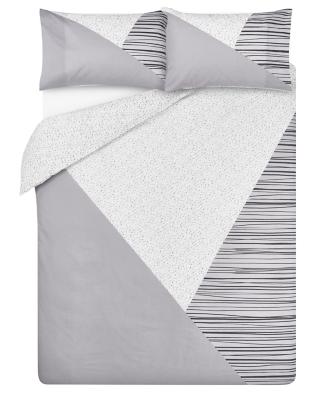 Grey Geometrical Print Easy Care Duvet Set