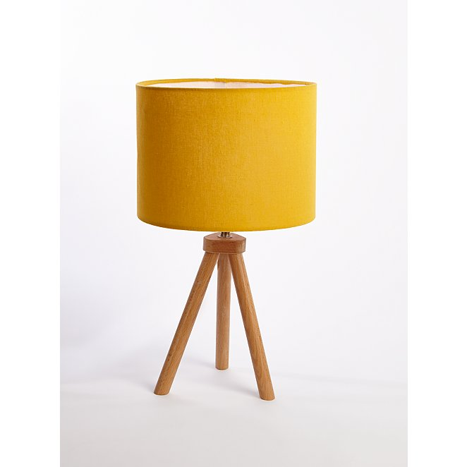 Yellow Wooden Tripod Table Lamp Home George At Asda