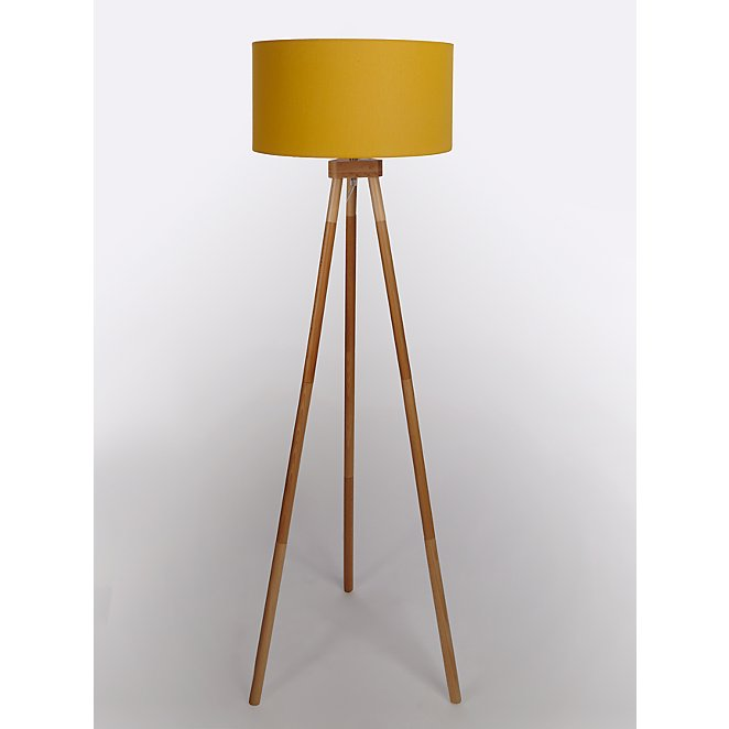 Yellow Wooden Tripod Floor Lamp Home, Skinny Floor Lamp With Shade