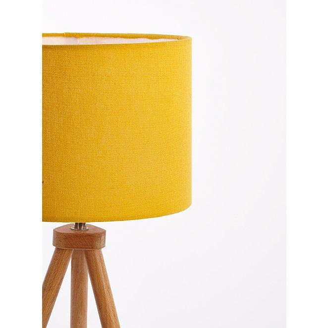 Yellow Wooden Tripod Floor Lamp