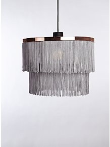 bd26ee43358 Grey Fringe Two Tier Pendant Ceiling Shade