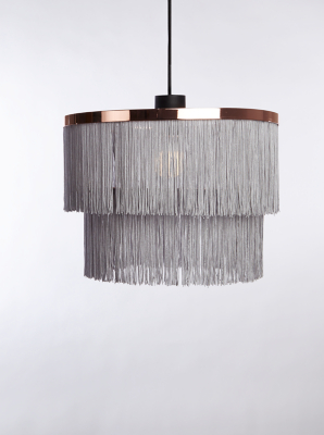 Picture of: Grey Fringe Two Tier Pendant Ceiling Shade Home George At Asda