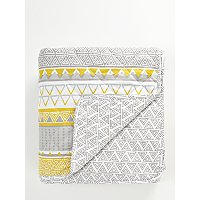 Grey And Yellow Geometric Print Quilted Throw by Asda
