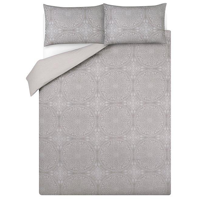 Luxury Grey Tile Jacquard Print Duvet Set Home George