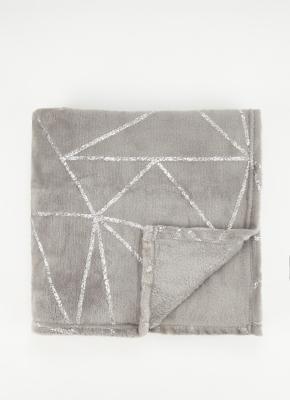 Grey Foil Super Soft Throw