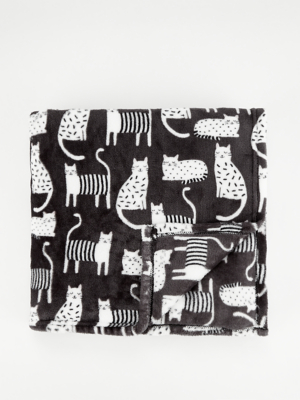 Black and White Cat Super Soft Throw