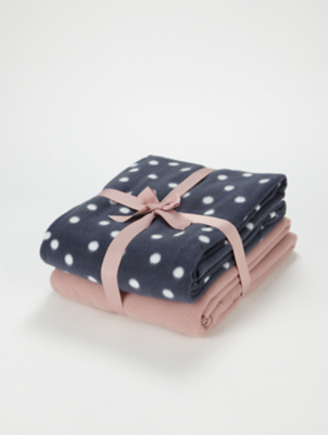 Blue Spotted and Pink Fleece Throws 2 Pack