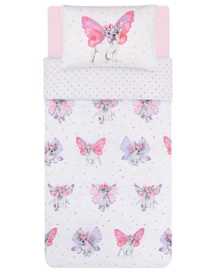 Pink Frenchie Fairies Easy Care Reversible Duvet Set Single