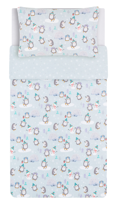 Playful Penguin Brushed Cotton Duvet Set